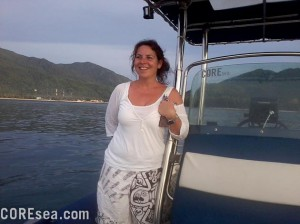 A great wife being happy that her husband spend 15,000$ on a boat that is always dirty.